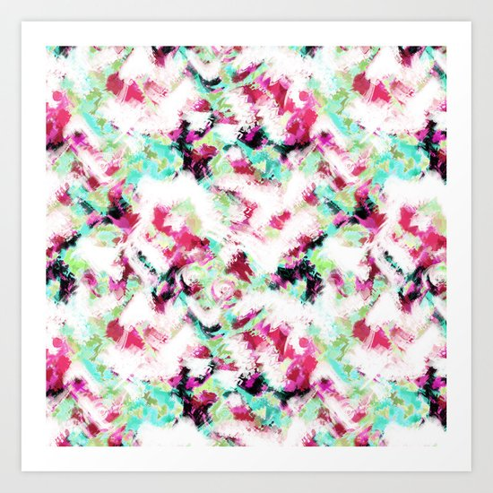 Abstract pattern white green pink . Art Print