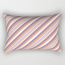 Orchid Indigo Beige Inclined Stripes Rectangular Pillow