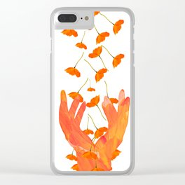 Wonderful Poppy Flowers Orange Coral Color White Background #decor #sociey6 #buyart Clear iPhone Case