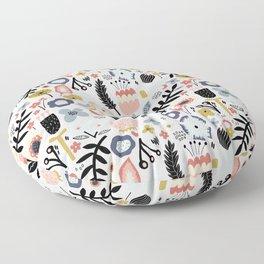 Naive Floral Scandinavian Design Floor Pillow