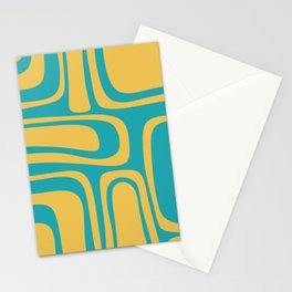 Palm Springs Mid Century Modern Abstract Pattern in Yellow and Turquoise Stationery Cards
