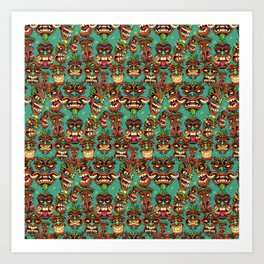 Tiki Head Pattern Art Print