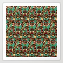 Tiki Head Pattern Art Print