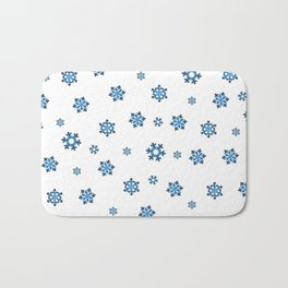Snowflakes (Blue & Black on White) Bath Mat