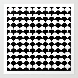 Black and White Clamshell Pattern Art Print