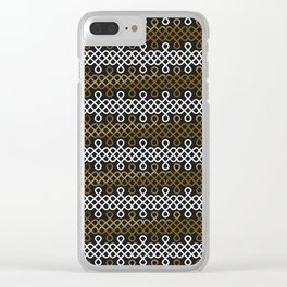 Endless Knot pattern - Gold & white Clear iPhone Case