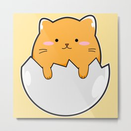 Yellow Cat Egg Metal Print
