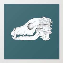 Overgrown Fox Skull (with background) Canvas Print