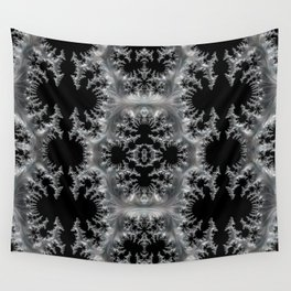 Delicate Silver Filigree on Black Fractal Abstract Wall Tapestry