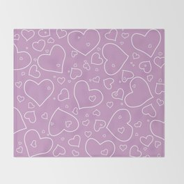 Lavender and White Hand Drawn Hearts Pattern Throw Blanket