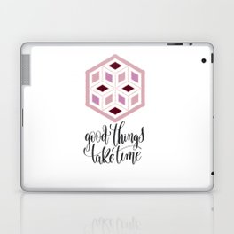 Pink Sequins Cube Good Things Take Times Typography Laptop & iPad Skin