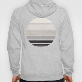 Grey Mid Century Modern Minimalist Circle Round Photo Staggered Sunset Geometric Stripe Design Hoody