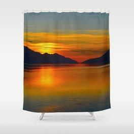 Alaskan Sunset Silhouette - Turnagain Arm Shower Curtain