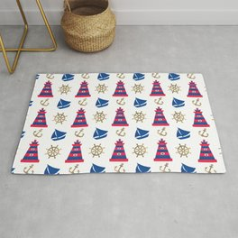 Blue red faux gold hand painted watercolor nautical pattern Rug