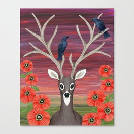 white tailed deer, crows, poppies Canvas Print