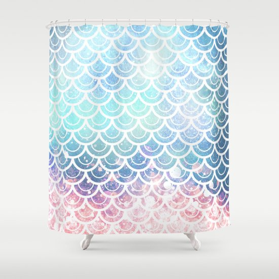 mermaid scales turquoise pink sunset shower curtain