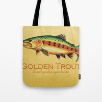 trout Tote Bags featuring Golden Trout by MoosePaw