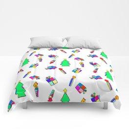 Ho Ho Ho Merry Christmas colorful illustration Comforters