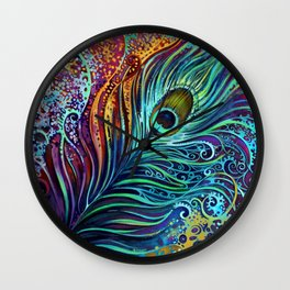 Peacock Feather by Laura Zollar Wall Clock