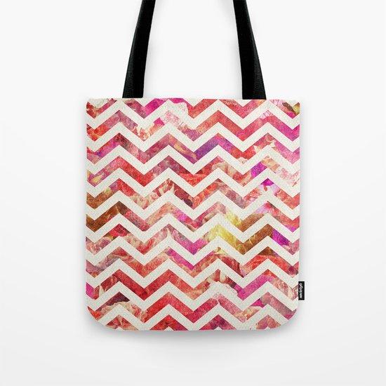 FLORAL CHEVRON Tote Bag