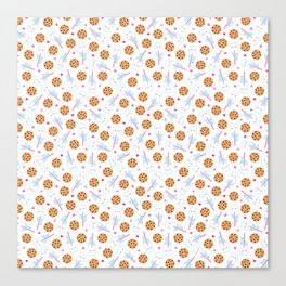 Happy Milk and Cookies Pattern Canvas Print