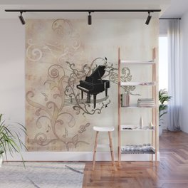Music, piano with key notes and clef Wall Mural