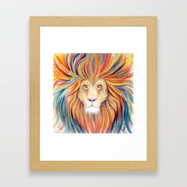 The Sun King - Lion watercolor with gold Framed Art Print