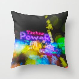 Rainbow Colored Bokeh Lights Techno Throw Pillow
