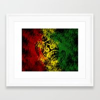rasta Framed Art Prints featuring Rasta Honu by Lonica Photography & Poly Designs