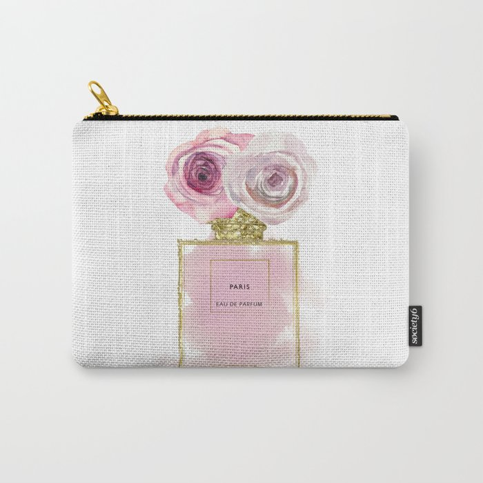 Pink & Gold Floral Fashion Perfume Bottle Carry-All Pouch