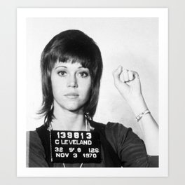 Jane Fonda Mug Shot Vertical Art Print