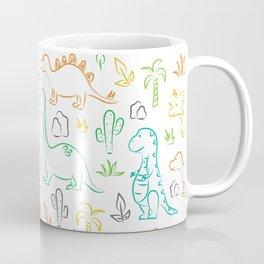 Colorful dinosaur pattern on white Coffee Mug