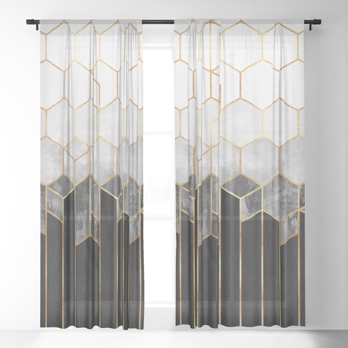 Charcoal Hexagons Sheer Curtain