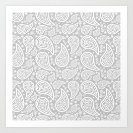 Paisley (White & Gray Pattern) Art Print