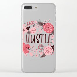 HUSTLE - Floral Phrases Clear iPhone Case