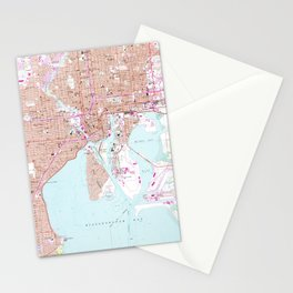 Vintage Map of Tampa Florida (1956) Stationery Cards