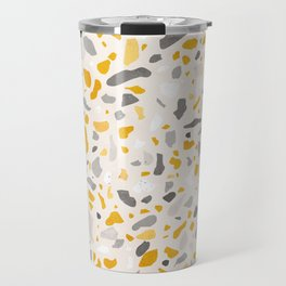 Terrazzo memphis vintage mustard yellow white grey black Travel Mug