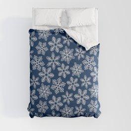 Snowflakes on dark blue Comforters