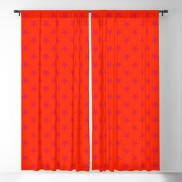Crimson Red on Scarlet Red Stars Blackout Curtain