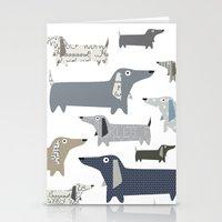 daschund Stationery Cards featuring Weiner Dog Pattern by Taylor Engelsman