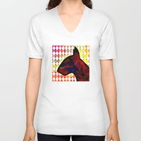 bull terrier V-neck T-shirts featuring Bull Terrier Jester by Erin Conover