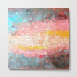 Pink, blue, orange mosaic stained glass background Metal Print