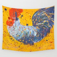 "rooster Wall Tapestries featuring ""mista roosta""  Rooster Rooster by Jennifer Pennacchio"