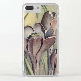 Purple Crocus Flowers in the Spring Clear iPhone Case