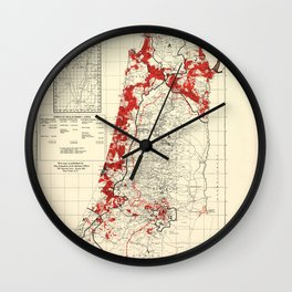 Map of Palestine Index to Villages & Settlements 1940's Wall Clock