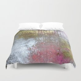 Golden Girl: a pretty abstract mixed media piece in pink, white, gold, and gray Duvet Cover