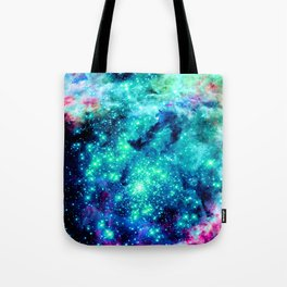 Colorful Teal Galaxy Sparkle Stars Tote Bag