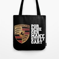 font Tote Bags featuring Porsche FONT by kartalpaf