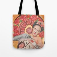 frida kahlo Tote Bags featuring Frida kahlo by Magdalena Almero