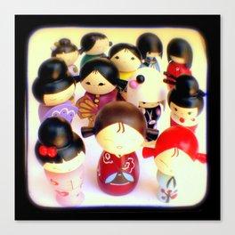 Kokeshi Dolls Canvas Print